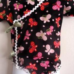 Handmade Kimono Onesie Butterflies Sizes 0 Months to 24 Months